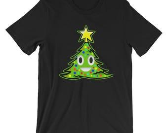 Funny Ugly Christmas Tree Poop Emoji Short-Sleeve Unisex T-Shirt