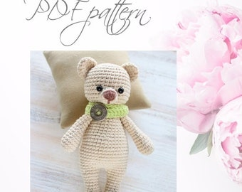 Crochet Bear TEDDY, PDF pattern, DIY toys,  Amigurumi Bear