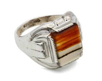Antique Mens Ring, Red Montana Agate Ring, 1940s Mens Jewelry, Sterling Silver 925, Art Deco Agate Ring, Clark And Coombs, Ring Size 7 to 8