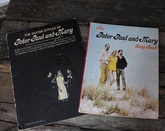 2 Vintage Folk Music Books: Peter Paul and Mary Song Book + Guitar Styles of Peter Paul and Mary
