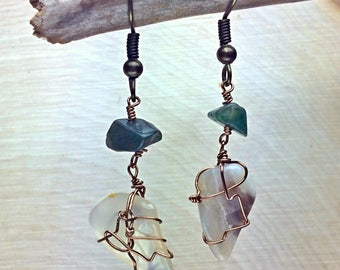 Mismatched Moss Agate Earrings