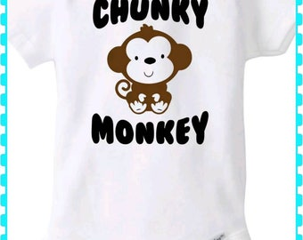 Unisex Onesie, Chunky Monkey, Baby Girl, Baby Boy, Onesie - Choice of Colors in Onesie and Lettering