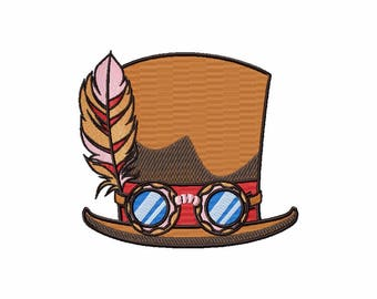 Steampunk Top Hat- Steampunk #04 Machine Embroidery Design - Five Sizes: 3.5 to 5.5 inch - Instant Download!