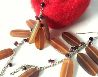 Oval bone earrings garnet stone boho sterling silver long earrings fashion jewelry womens gift for her birthday drop earrings