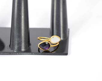moonstone ring , amethyst ring, double stone ring, adjustable ring , pear shape ring ,gold plating ring, natural stone ring ,gemstone ring