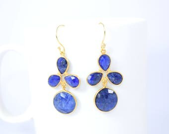 sapphire earring,blue color earring,sapphire dangle earring,round shape earring,sapphire pear shape earring,sapphire jewelry ,birthday gift