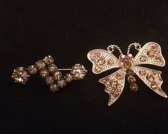 Two Vintage Rhinestone and Silver Metal Brooches - 1950/1960