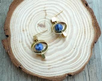 Misssheep - [BN26 ] simple brass , blue sodalite bead earrings , natural stone earrings