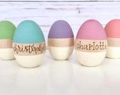 Personalized Wooden EASTER Eggs, Modern, Easter gift for Children, Easter Bunny, Wood burned, Hand painted, Custom, Easter basket, egg hunt