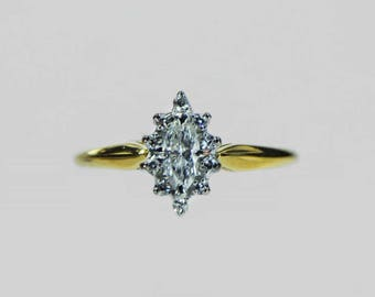 Vintage 1970s Marquise Diamond Ring With Halo .30ct