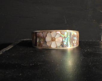 Vintage cuff bracelet abalone shell and mother of pearl inlay