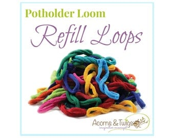 Potholder Loops Refill for Harrisville Designs' Potholder Loom, Individual Bright Colors, Set of 18 cotton Loops your choice from 33 colors