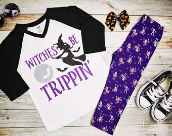 Witches Be Trippin - Halloween Tshirt - Halloween - Witch Shirt - Girls Halloween Shirt - Cute Halloween Shirt - Toddler Halloween