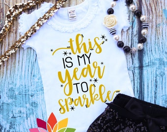 New Years 2018 SVG, This is my Year to Sparkle, First Happy New Year, Fireworks, girl shirt design for silhouette cameo and cricut