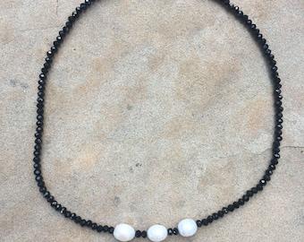 Three Pearl Beaded Choker Necklace