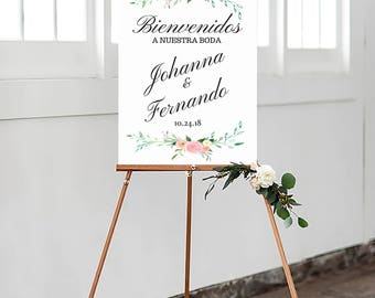Bienvenidos a nuestra boda, spanish wedding sign, welcome wedding sign, blush wedding printable, floral wedding sign, #MCD101
