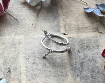 Sterling silver twig ring, wrap ring, branch ring, organic ring