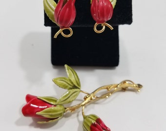 Gorgeous Enameled Rose Brooch & Matching Clip Earrings