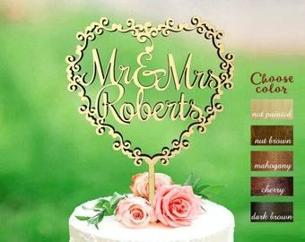 Surname Cake Topper, Mr and Mrs Cake Topper Gold, Custom Wedding Cake Topper, Personalized Cake Toppers, Wreath wedding cake topper, CT#195