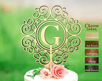 Wedding cake topper, letter g cake topper, cake toppers for wedding, rustic cake topper, wreath cake topper, initial cake topper, CT#245