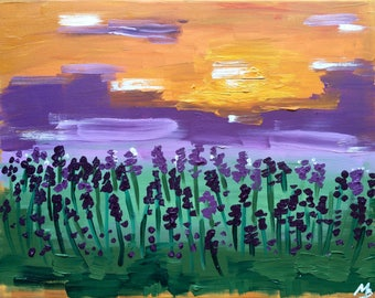 Original Oil Landscape Painting on Canvas Abstract Modern Purple Painting Lavender Field 30*40cm by Maria Petrenko