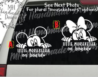 Mickey OR Minnie - Little Mouseketeer/Mouseketeers on board Decal