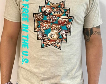 Native American Indian Southwestern Shirt Aztec Navajo Ethnic Tribal Boho Embroidered Vintage Retro Hipster Wearable art