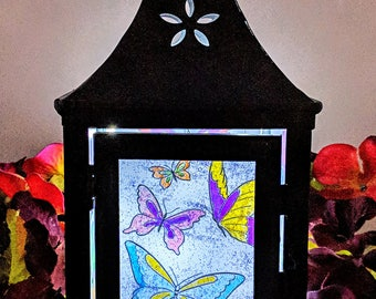 Hand Painted Butterfly LED Lantern