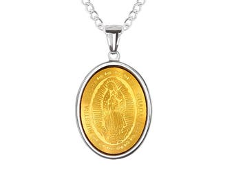 """Oval Gold IP-Plated Virgin Mother Mary Nuestra Senora de Guadalupe Inlay, Religious Pendant with Stainless Steel, 24"""" Chain Necklace"""
