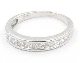 Princess Cut Diamond Engagement Ring, Size 7, Channel Set Diamond Band, 14k White Gold (685)