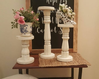 Country Pedestal Candle Holders, Shabby Chic Pillar Candle Holders, Farmhouse Candle holders, Wedding Table Pedestals, Cottage Decor