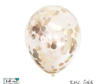 Rose Gold Confetti Balloons x 3, Multiple sizes available 30cm, 43cm or 90cm Jumbo -