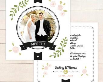 Carte de Remerciements MARIAGE personnalisable // Faire-part merci recto/verso carré pour vos invités à télécharger en pdf ou à imprimer