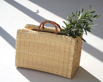 Portuguese Reed Bag, straw basket bag, summer basket, market bag, shopping bag, bolsa de mercado, sac de paille, Strohsack, bolso de paja.
