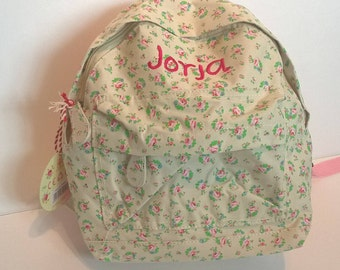 Personalised Child's Mini Floral Backpack - ditsy, rose, flowers, shabby chic, vintage, toddler, personalized bag, nursery bag, kindergarten