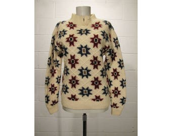 Vintage WOOLRICH Woman Sz M Quilt Star Chunky Knit Wool Sweater