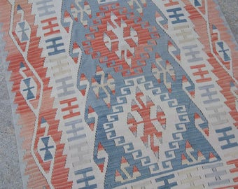 "5'11""x3'5"" Peach and Blue Geometric Traditional Vintage Style Turkish Kilim"