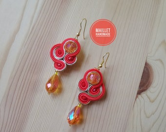 """Red & Gold Soutache Earrings, Handmade Earrings, Soutache Jewelry, Model """"radiant"""", Valentine's Gift, Present for Her, Wedding Jewelry"""