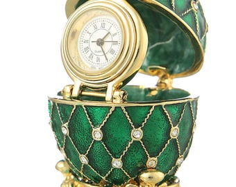 Russian Faberge Style Egg / Trinket Jewel Box Grid with clock 6cm (2.4'') green