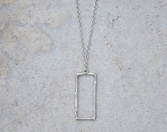 Handmade Sterling silver medium rectangle pendant necklace