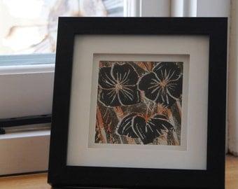 Black and orange flowers Lino Print, Linocut