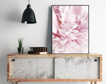 Peony print floral decor, flower still life, abstract floral wall art, large wall art print, blush pink decor, floral print download