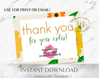 Vintage Floral Green and Yellow Digital Thank You/Physical Thank You Postcard Template