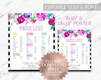 Instant Customizable Floral Striped Fashion Consultant and LLR Price Sign & Price Poster TEMPLATES
