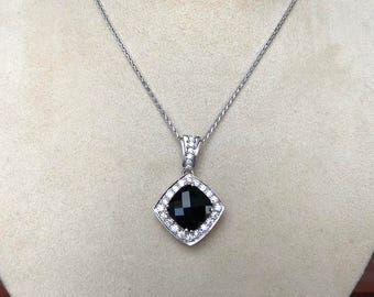 Onyx and diamond etsy rose cut black onyx and diamond pendant 18k white and rose gold wheat chain aloadofball Gallery
