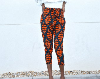 Short pants high waist with belt, Ankara 3/4 pants.