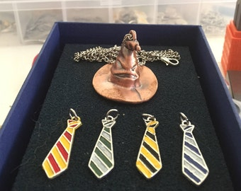 Hand Painted Harry Potter Inspired Hogwarts House Ties Charm