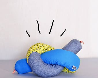 XXL Duffel black bumper removable racoon baby kids handmade cushion