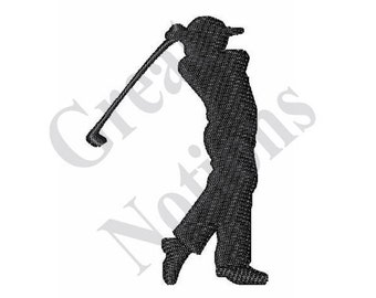 golfer swing silhouette machine embroidery design