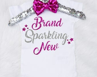 Baby Girl's Brand Sparkling New Onesie, Brand New Onesie, Brand New Newborn Outfit, Newborn Brand Sparkling New Shirt, Babyshower Gift